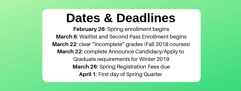 "Dates and Deadlines: Feb. 26-- spring enrollment begins; March 6--Waitlist and Second Pass Enrollment begins' March 22--clear ""Incomplete"" grades for fall 2018; March 22--complete Announce Candidacy and Apply to Graduate requirements for winter 2019; March 26--spring registration fees due' April 1--First day of spring quarter"