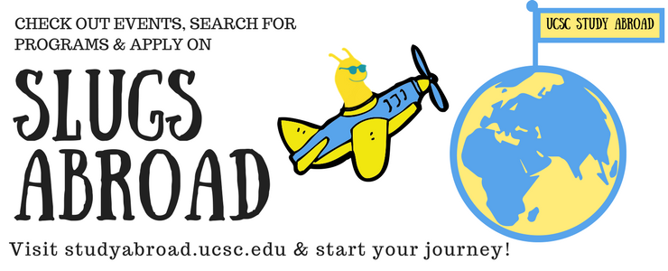 Link to UCSC Study Abroad program and cartoon of Sammy Slug piloting  a plane around the world