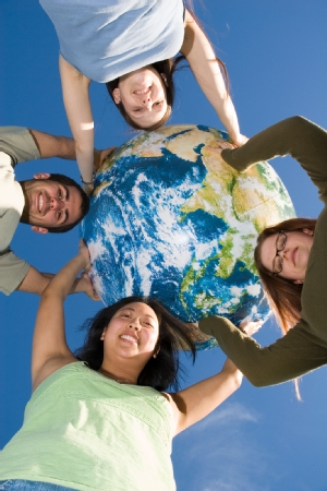 students and globe